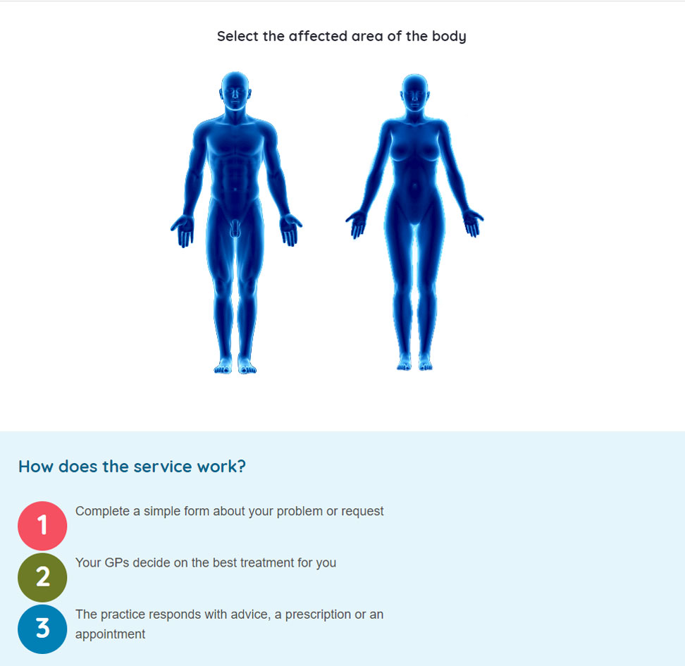 eConsults body map page